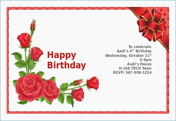 Birthday Card Template for Word Lovely Birthday Invitation Card Sample – Draestantfo
