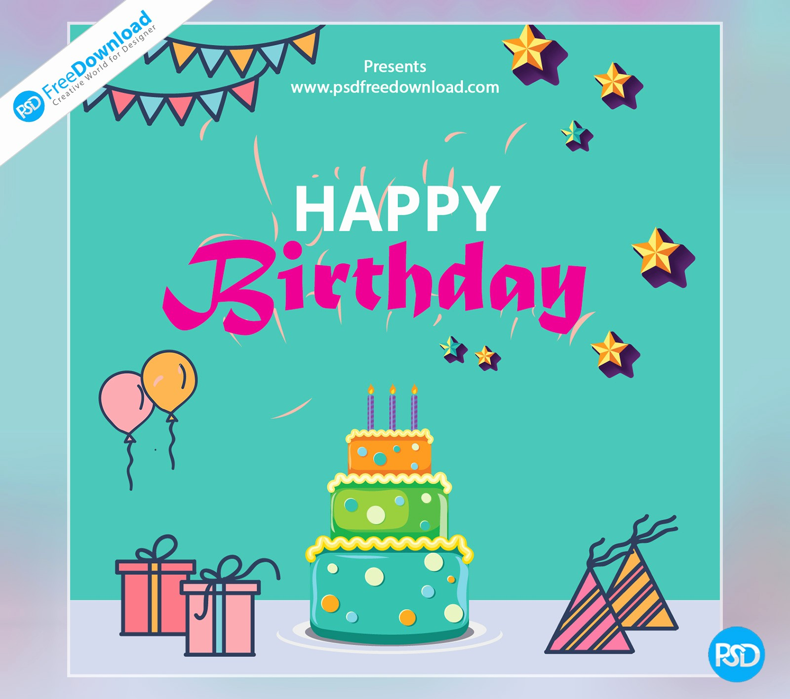 Birthday Card Template with Photo Awesome Happy Birthday Template Greeting Card Psd Free Download