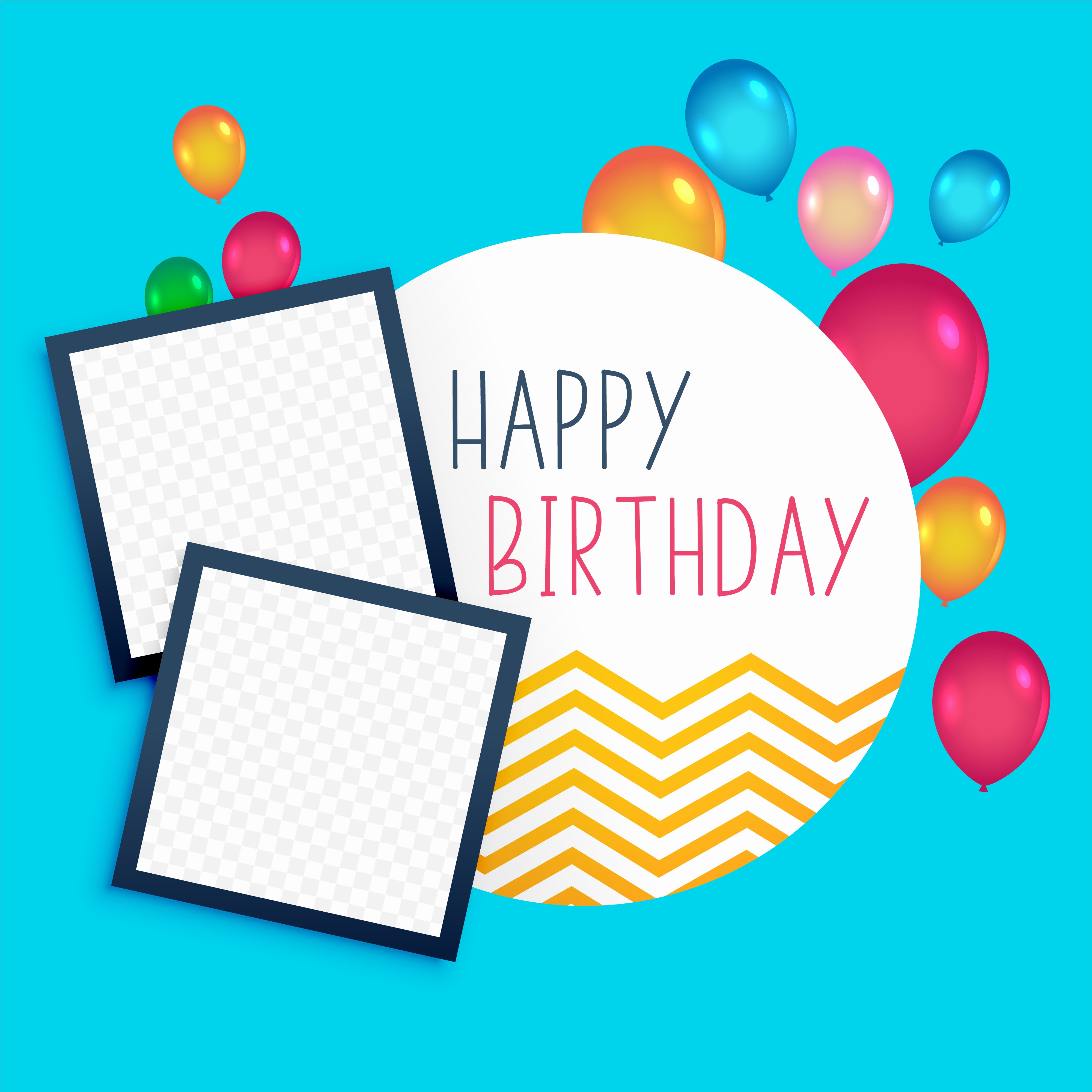 Birthday Card Template with Photo Awesome Happy Birthday Template with Photo Frame Download Free