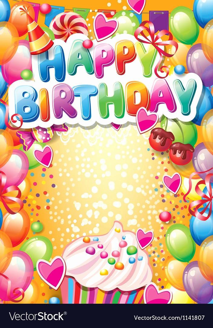 Birthday Card Template with Photo Beautiful Template for Happy Birthday Card with Place for Vector Image