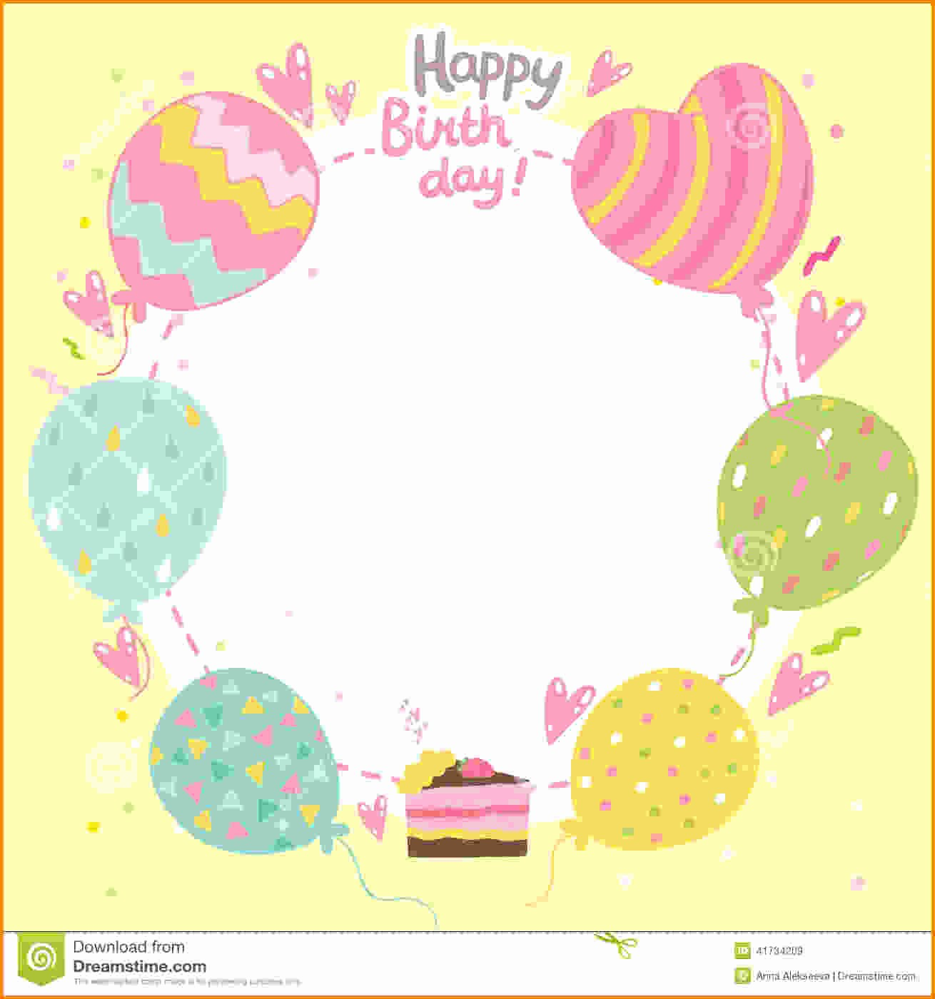 Birthday Card Template with Photo Lovely Happy Birthday Card Template