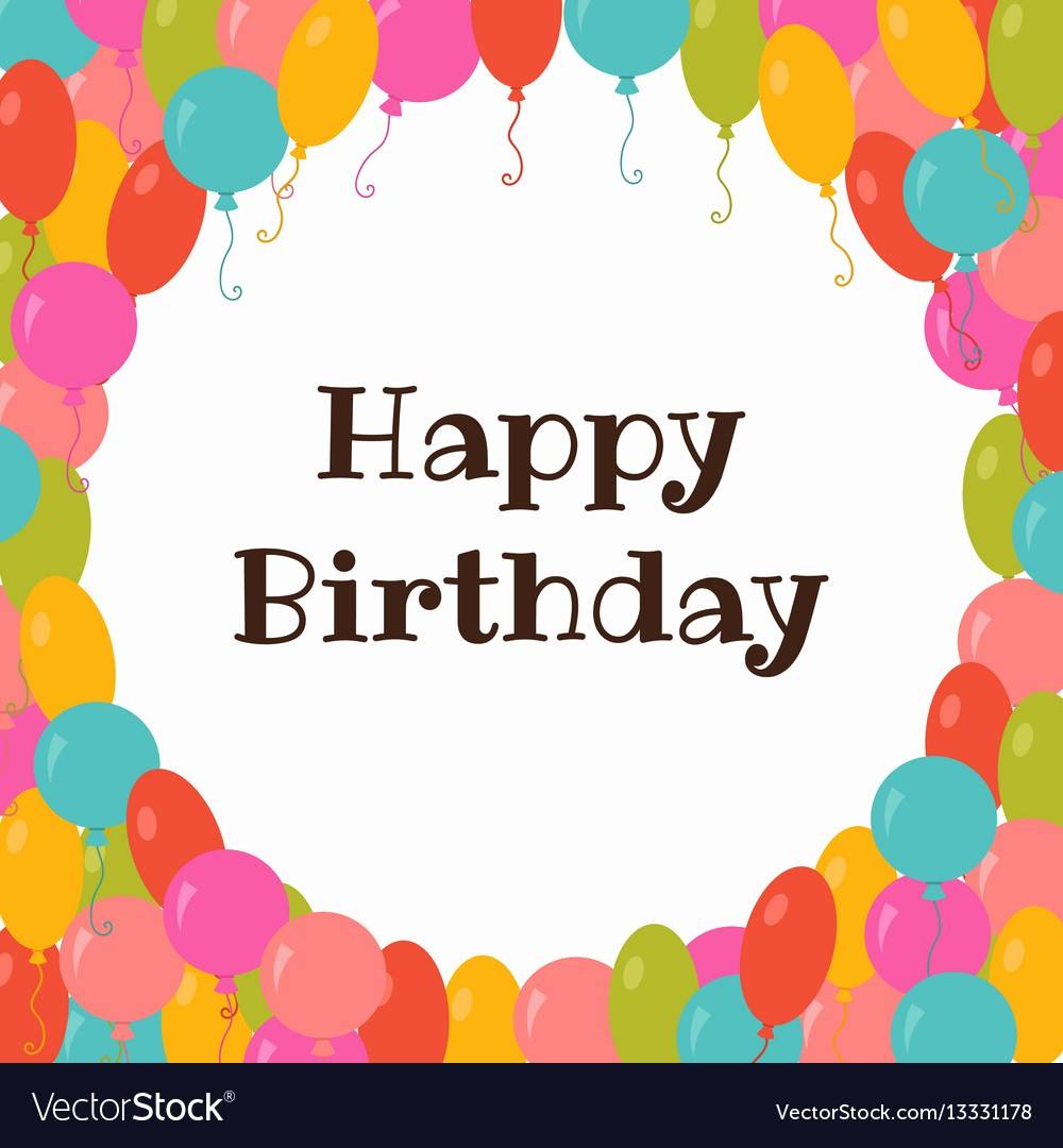 Birthday Card Template with Photo Luxury Happy Birthday Card Template with Colorful Vector Image