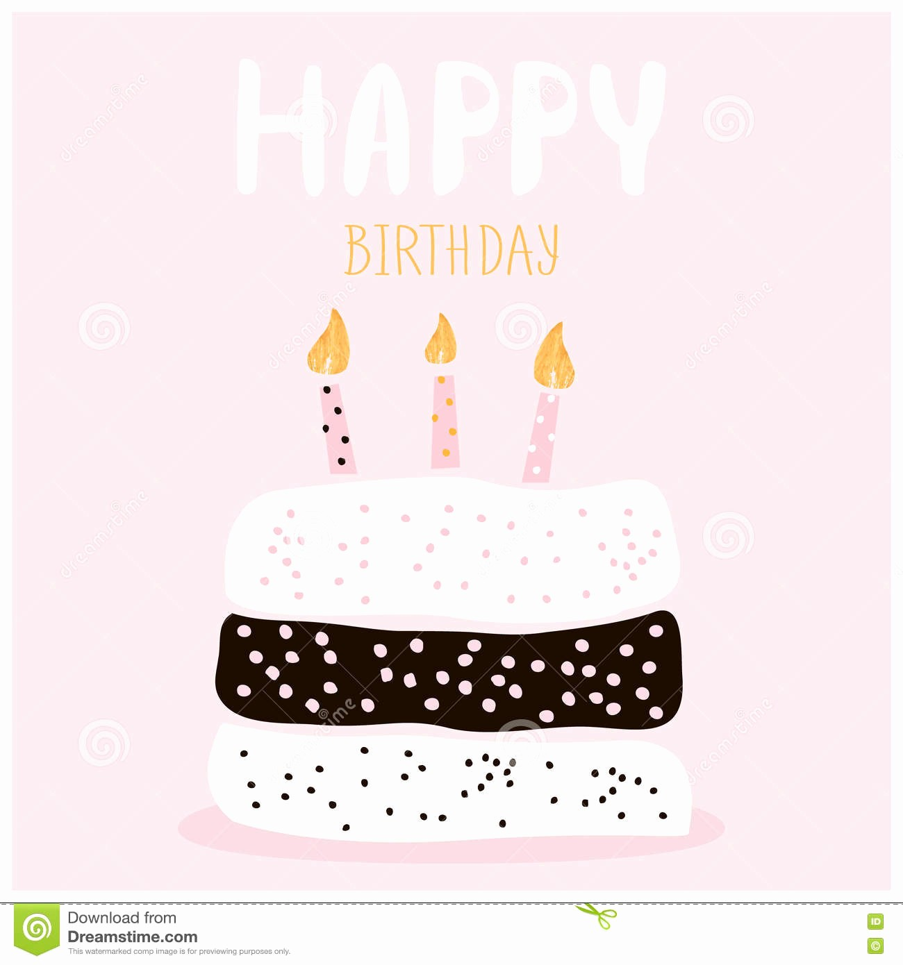 Birthday Card Template with Photo New Cute Cake with Happy Birthday Wish Greeting Card Template