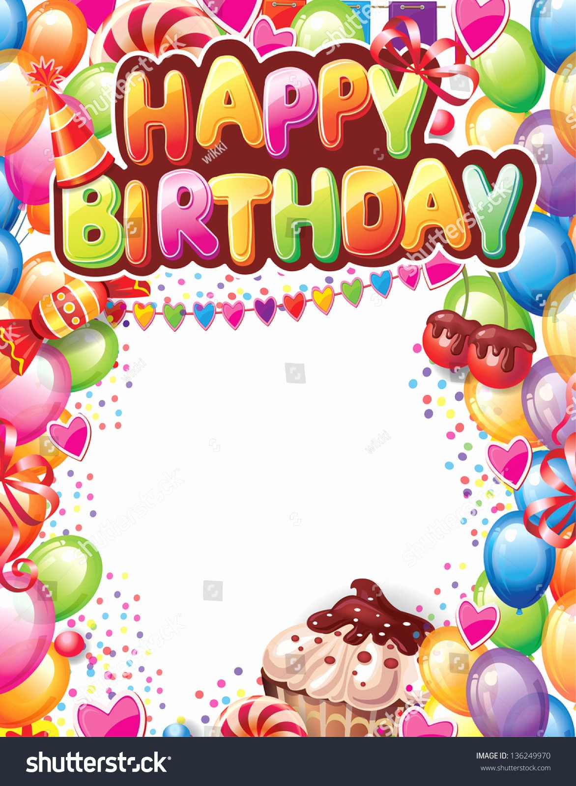 Birthday Card Template with Photo New Template Happy Birthday Card Stock Vector