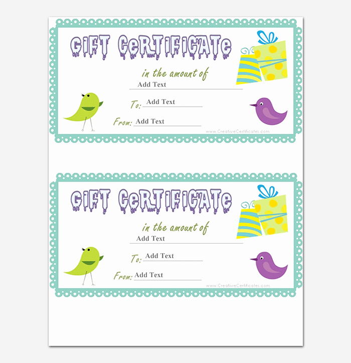 Birthday Gift Certificate Template Word Awesome 44 Free Printable Gift Certificate Templates for Word & Pdf