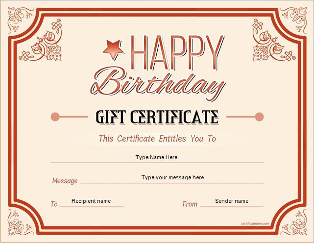 Birthday Gift Certificate Template Word Awesome Birthday Gift Certificate Sample Templates for Word