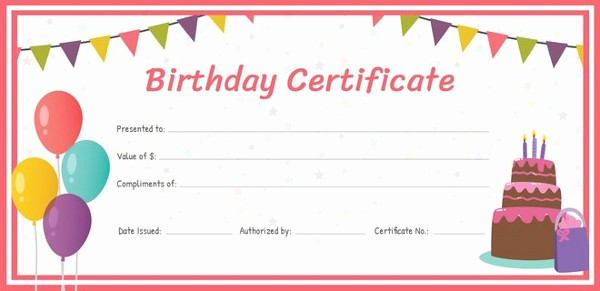 Birthday Gift Certificate Template Word Awesome Birthday Gift Certificate Templates 16 Free Word Pdf