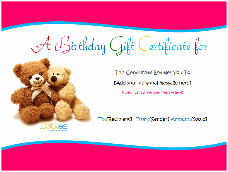 Birthday Gift Certificate Template Word Awesome Birthday Gift Certificate Templates for Girls and Boys