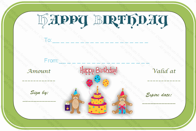 Birthday Gift Certificate Template Word Beautiful 15 Birthday Certificate Templates