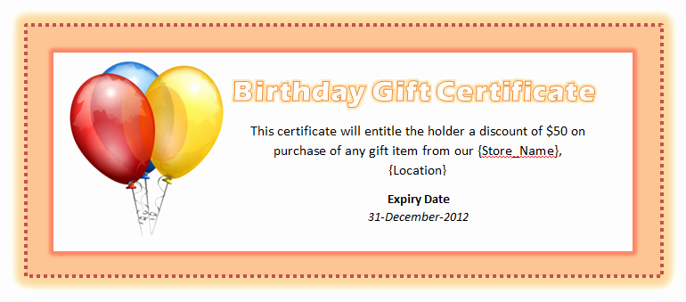 Birthday Gift Certificate Template Word Beautiful Birthday Voucher Template Microsoft Word Templates