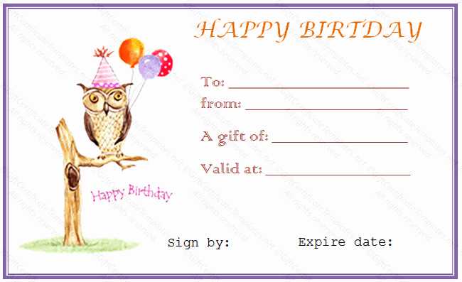 Birthday Gift Certificate Template Word Beautiful Owl Birthday Gift Certificate Template Gift Certificates