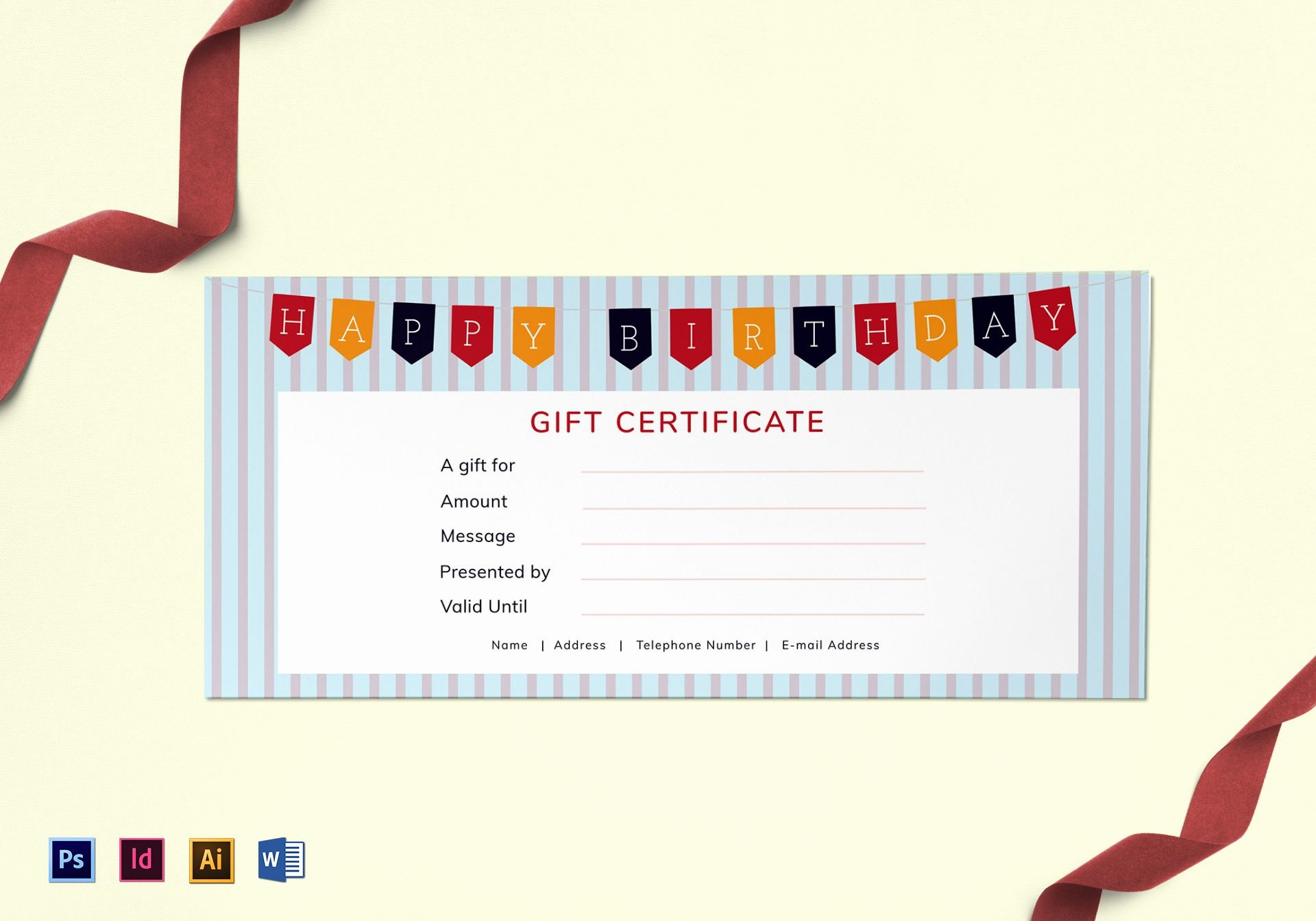 Birthday Gift Certificate Template Word Best Of Happy Birthday Gift Certificate Design Template In Psd