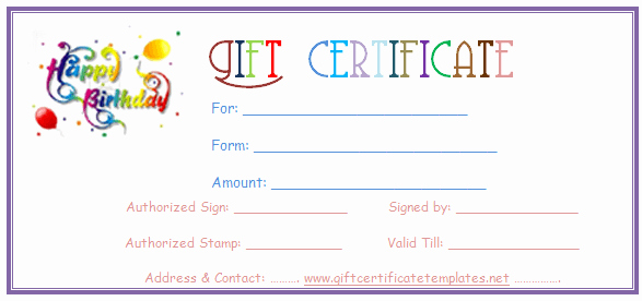 Birthday Gift Certificate Template Word Best Of Simple Balloons Birthday T Certificate Template