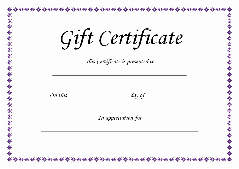 Birthday Gift Certificate Template Word Best Of T Certificate Template Blank