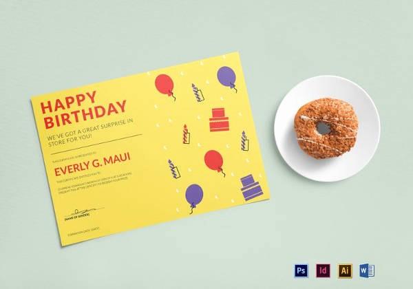 Birthday Gift Certificate Template Word Elegant Birthday Gift Certificate Templates 16 Free Word Pdf