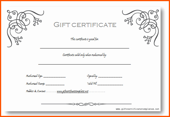 Birthday Gift Certificate Template Word Elegant Gift Certificate Template Word