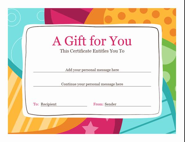 Birthday Gift Certificate Template Word Fresh Birthday T Certificate Bright Design
