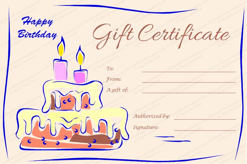 Birthday Gift Certificate Template Word Fresh Candles and Cake Birthday Gift Certificate Template