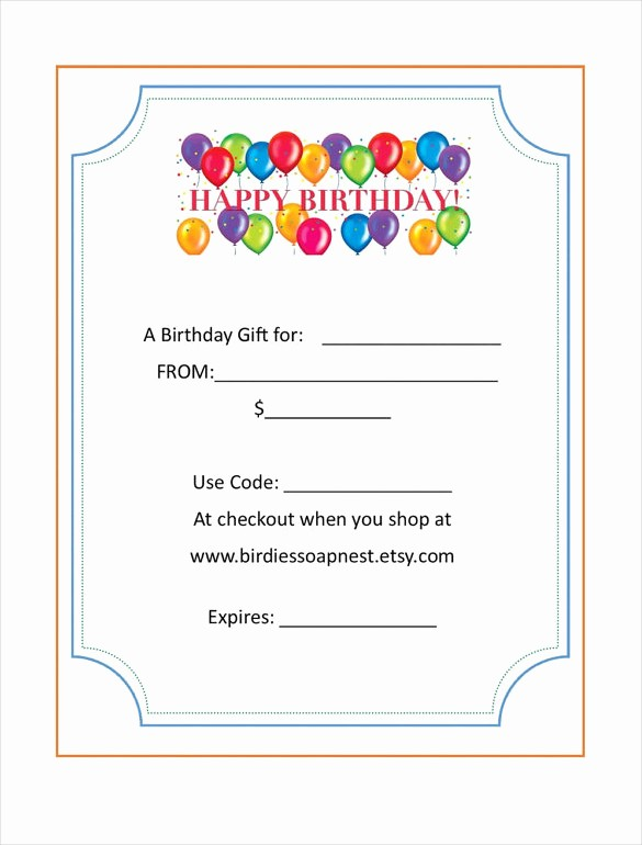Birthday Gift Certificate Template Word Inspirational Birthday Gift Certificate Templates 16 Free Word Pdf