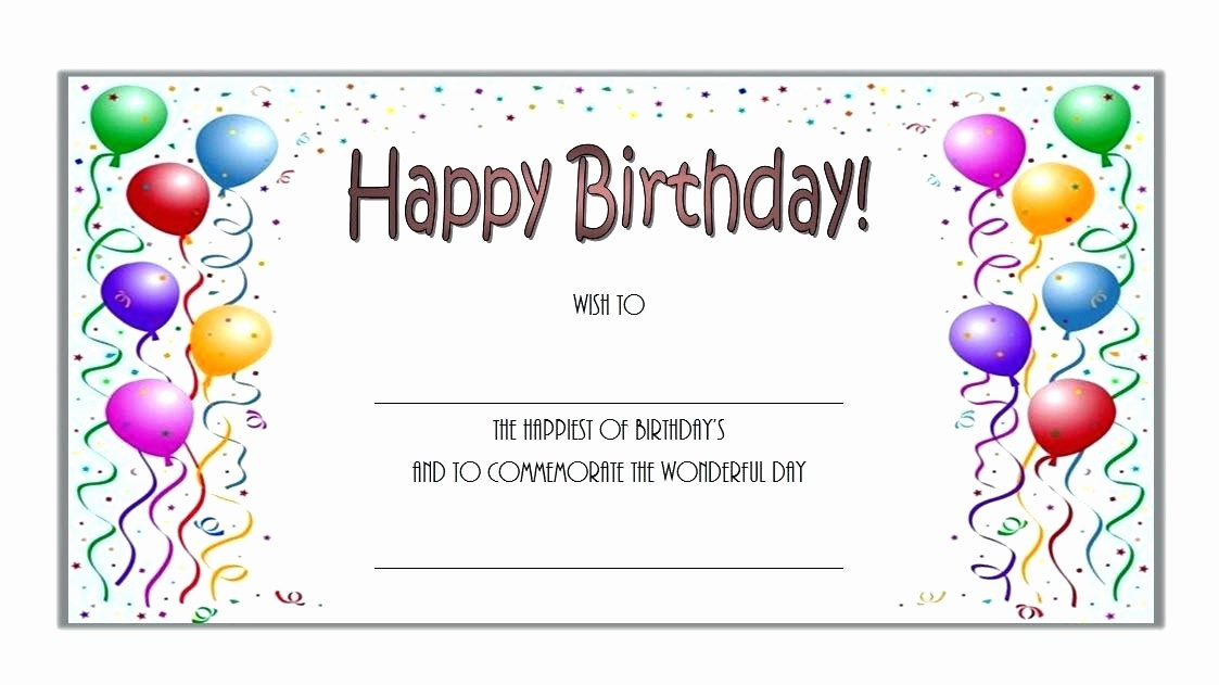 Birthday Gift Certificate Template Word Inspirational Happy Birthday Gift Certificate Template Word