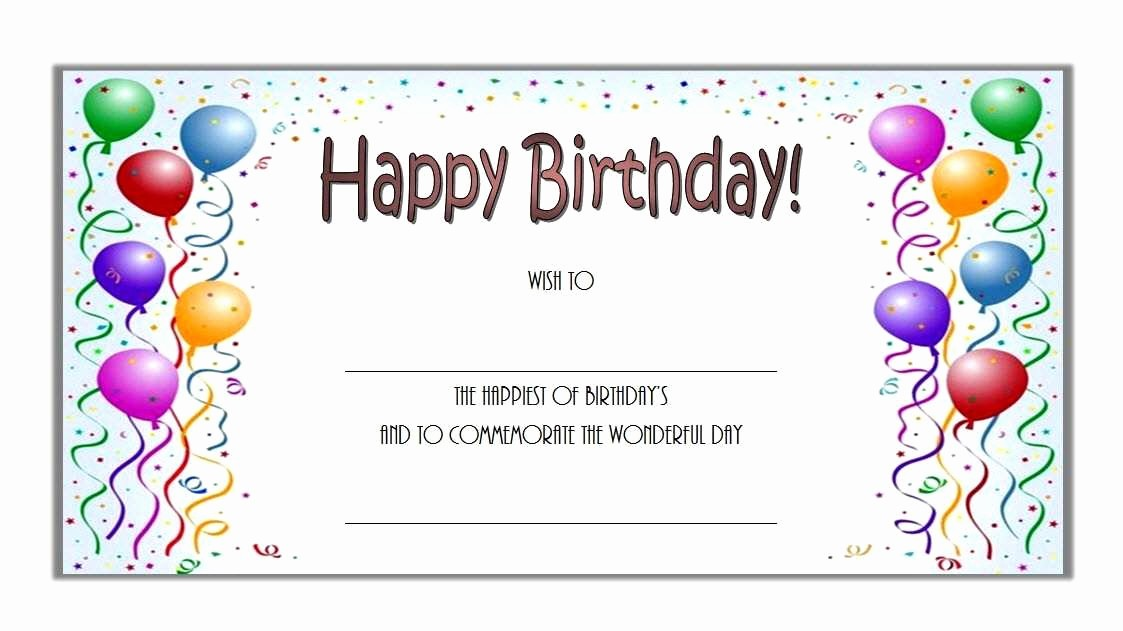 Birthday Gift Certificate Template Word Luxury Birthday Certificate Template New Free Birthday Gift