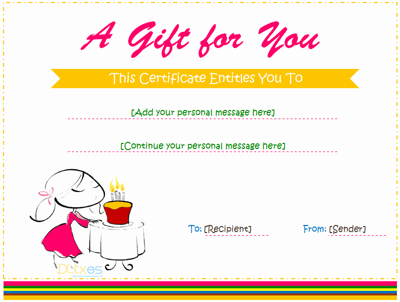 Birthday Gift Certificate Template Word Luxury Birthday Gift Certificate Template for Girls