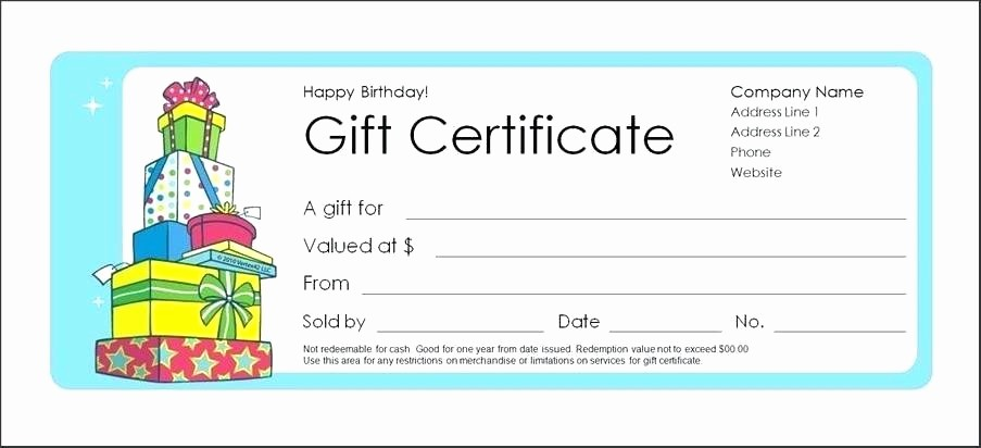 Birthday Gift Certificate Template Word Luxury Birthday Gift Certificate Template Templates Marvelous