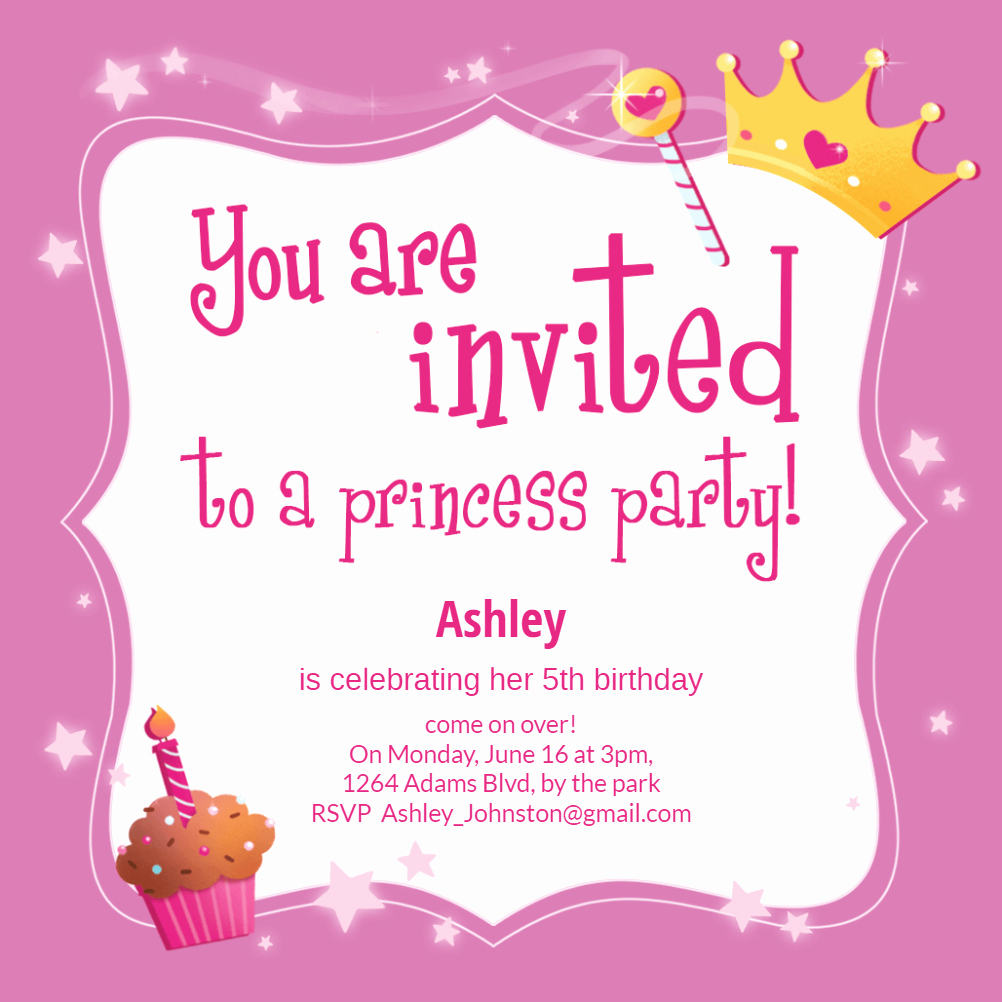 Birthday Invitation Card Template Free Best Of Princess Magic Free Birthday Invitation Template