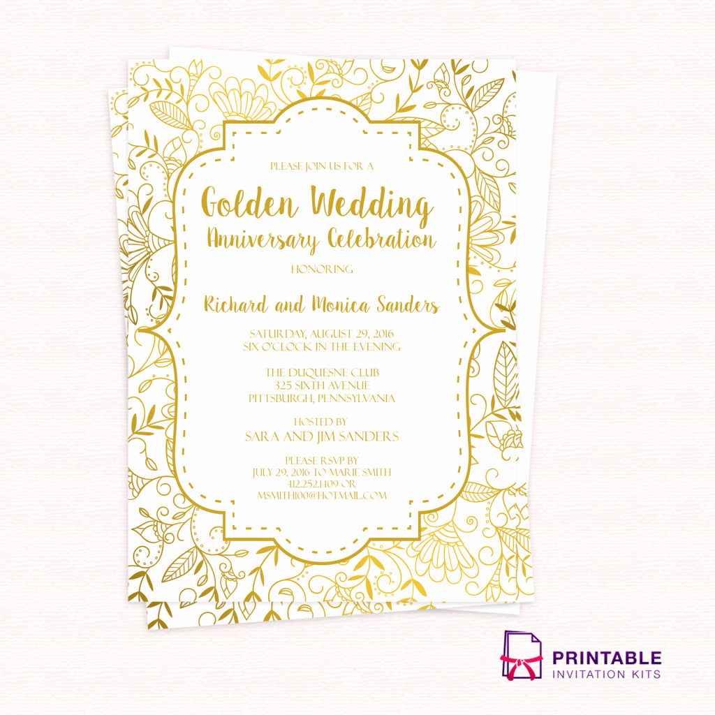Birthday Invitation Card Template Free Inspirational Free Pdf Template Golden Wedding Anniversary Invitation