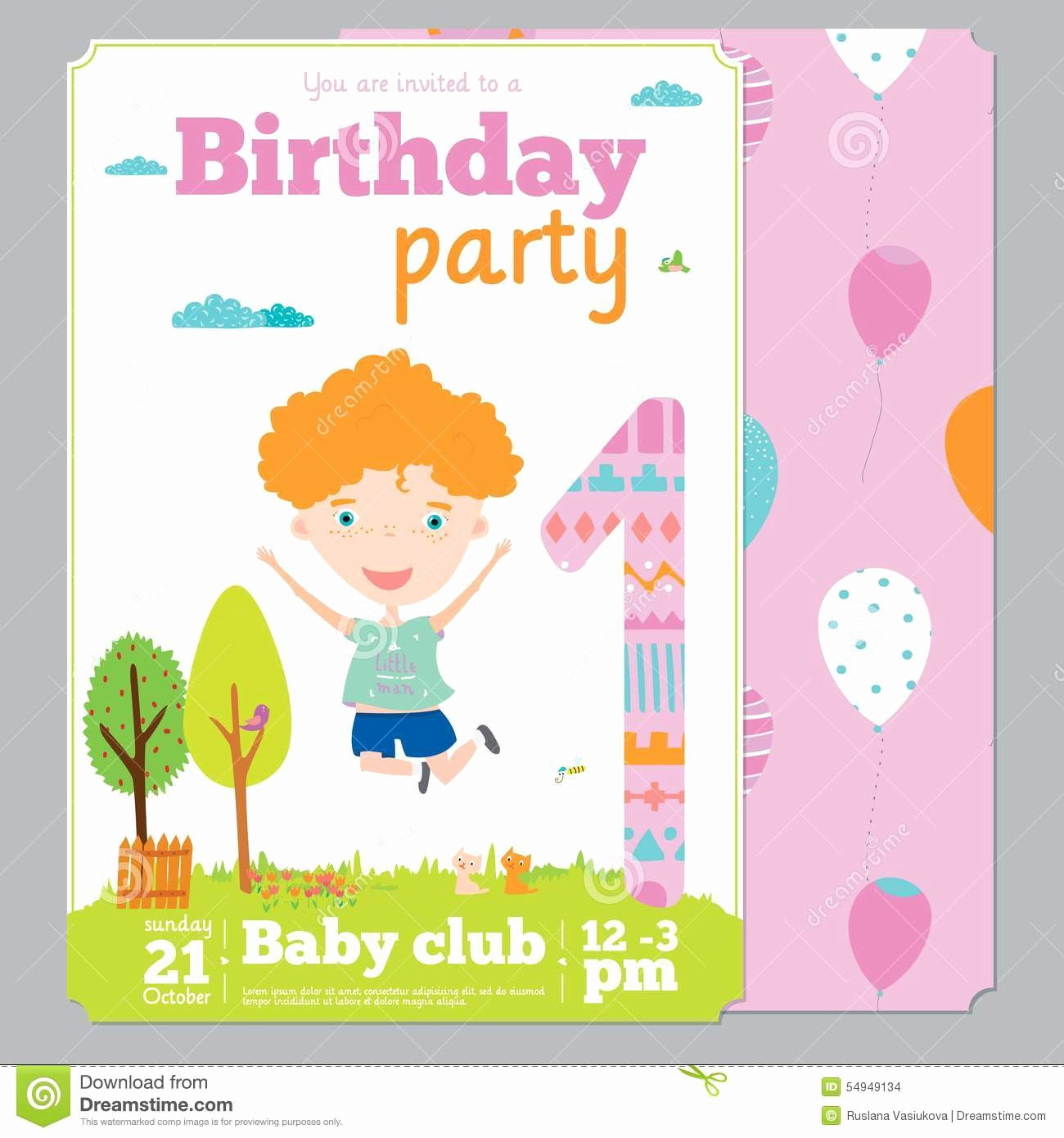 Birthday Invitation Card Template Free Lovely Birthday Party Invitation Card Template with Cute Stock