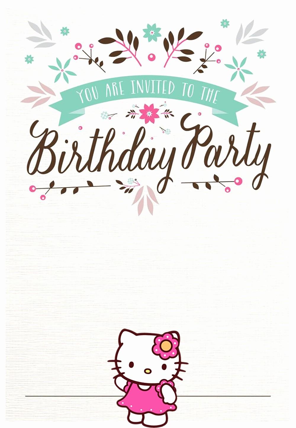 Birthday Invitation Card Template Free Lovely Hello Kitty Free Printable Invitation Templates