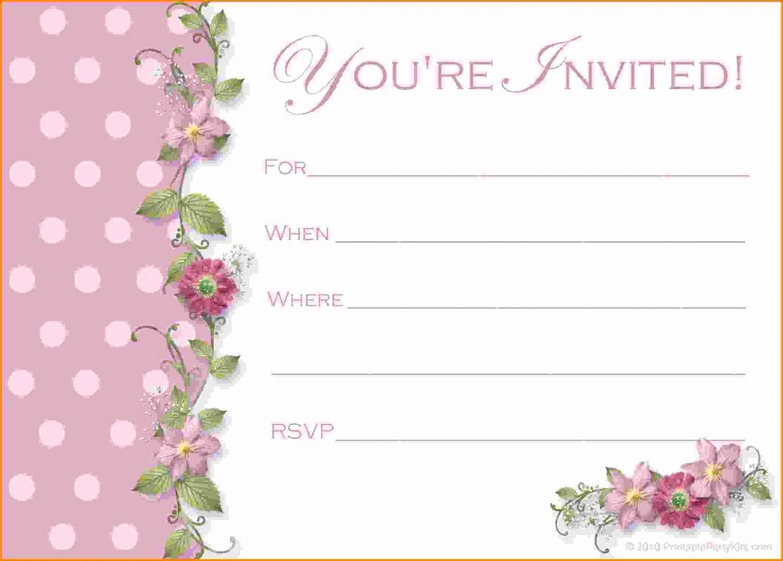 Birthday Invitation Card Template Free Unique Menu for Baby Shower