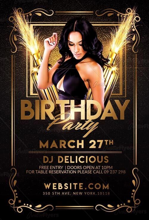 Birthday Party Flyer Template Free Beautiful Elegant Birthday Flyer