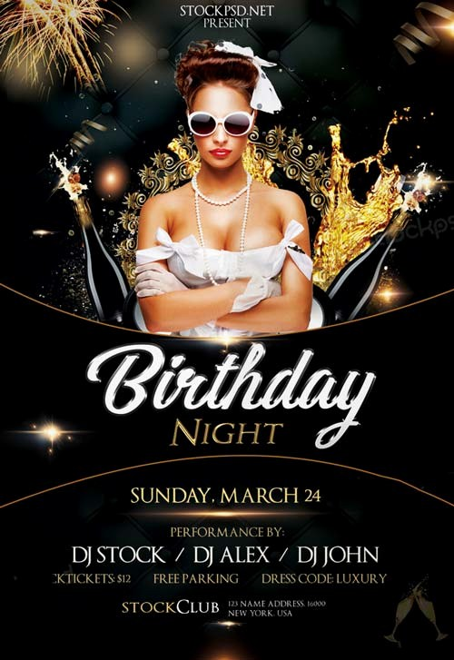 Birthday Party Flyer Template Free Elegant Birthday Gold Night Free Psd Flyer Template Download