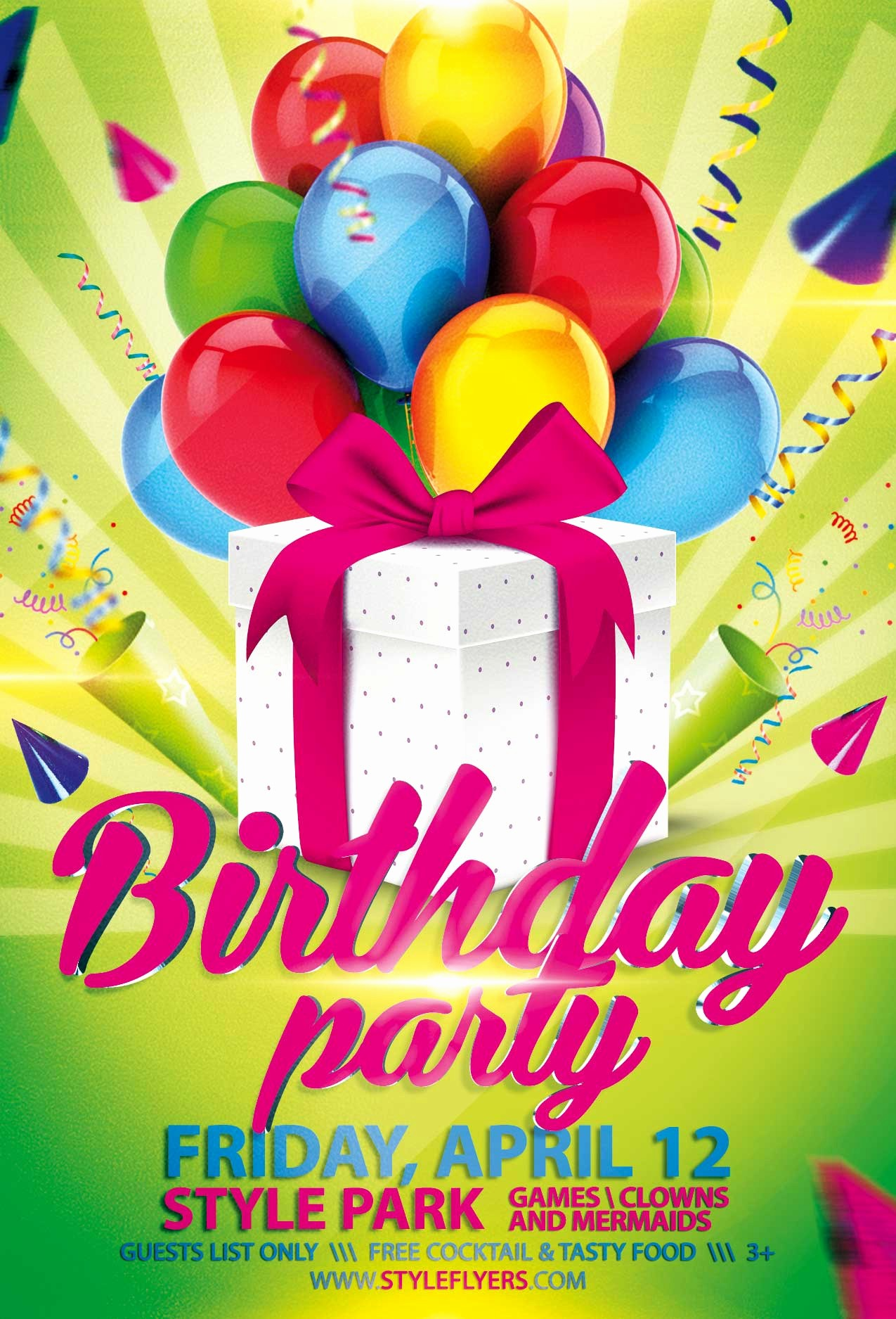 Birthday Party Flyer Template Free Elegant Birthday Party Psd Flyer Template with Animated Fully