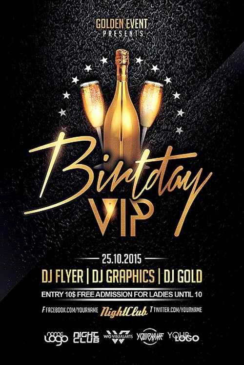 Birthday Party Flyer Template Free Elegant Birthday Vip Party Flyer Template Flyer for Club and