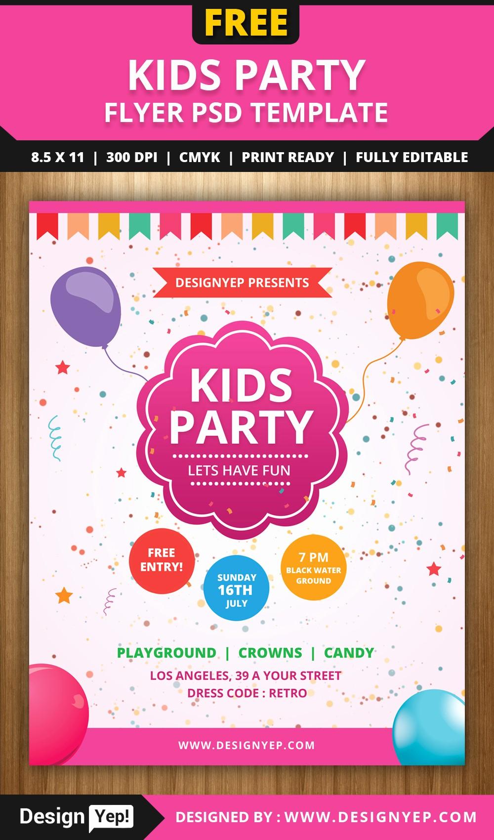 Birthday Party Flyer Template Free Fresh Free Kids Party Flyer Psd Template Designyep