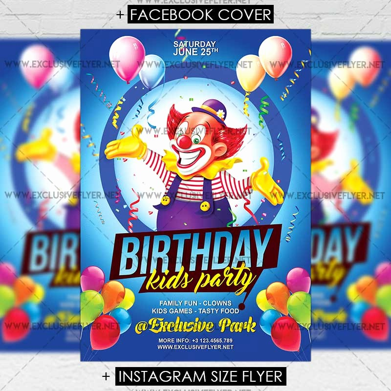 Birthday Party Flyer Template Free Fresh Kids Birthday – Premium A5 Flyer Template