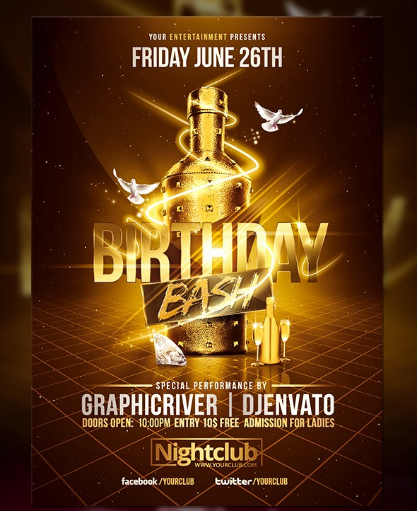 Birthday Party Flyer Template Free Unique Gold Birthday Bash