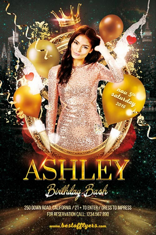 Birthday Party Flyers Designs Free Beautiful Birthday Bash Party Flyer Template Download Birthday