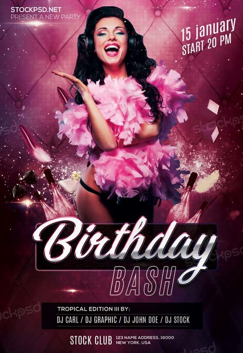 Birthday Party Flyers Designs Free Elegant Birthday Bash Party Free Psd Flyer Template Download