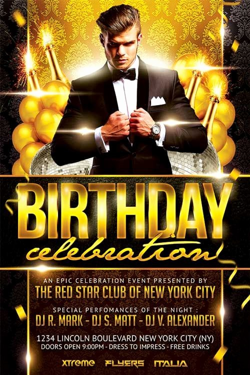 Birthday Party Flyers Designs Free Elegant Elegant Birthday Party Flyer Template