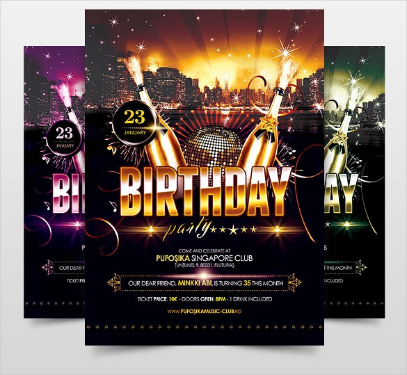 Birthday Party Flyers Designs Free Inspirational 34 Birthday Flyer Templates Word Psd Ai Indesign
