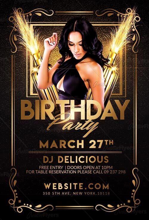 Birthday Party Flyers Designs Free Lovely Elegant Birthday Flyer