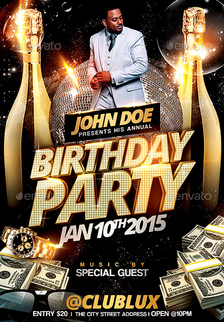 Birthday Party Flyers Designs Free New 20 Beautifully Designed Psd Birthday Party Flyer Templates