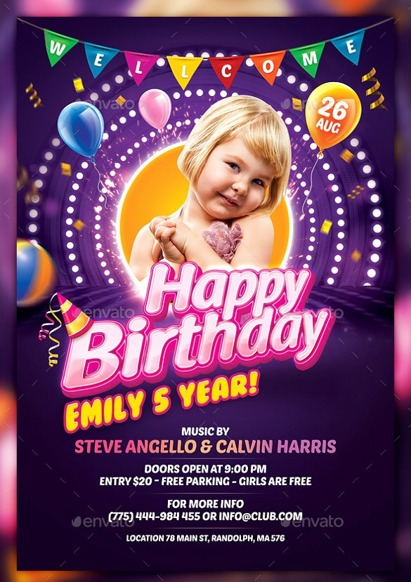 Birthday Party Flyers Designs Free New 43 Birthday Flyer Templates Word Psd Ai Vector Eps