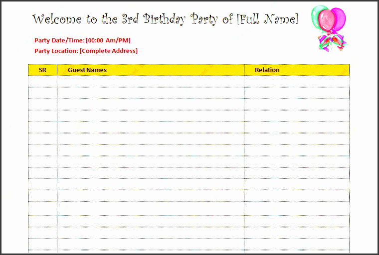 Birthday Party Guest List Template Beautiful 6 Party Guest List Templates Sampletemplatess