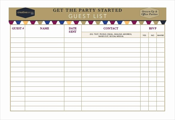Birthday Party Guest List Template Beautiful Birthday Guest List Template