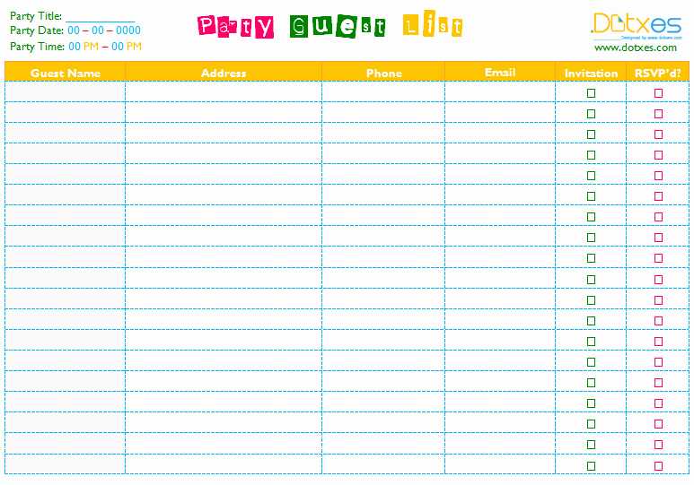 Birthday Party Guest List Template Beautiful Party Guest List Template Word Dotxes