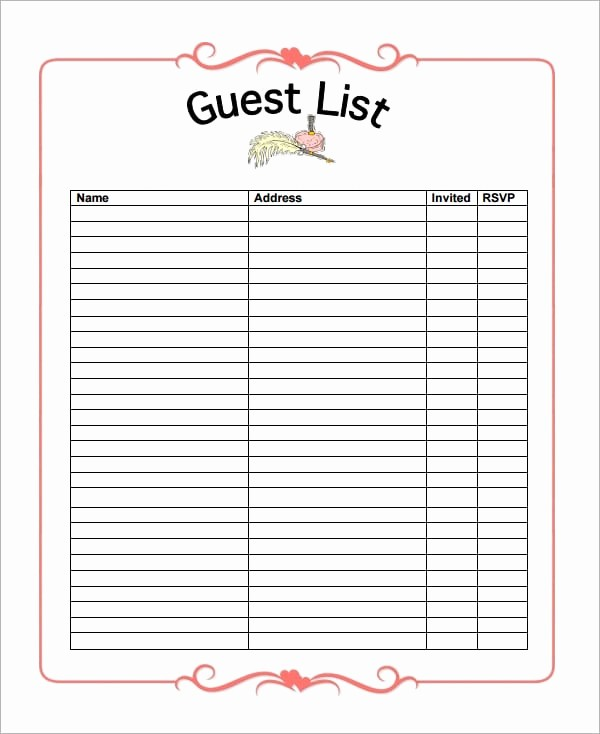 party guest list templates